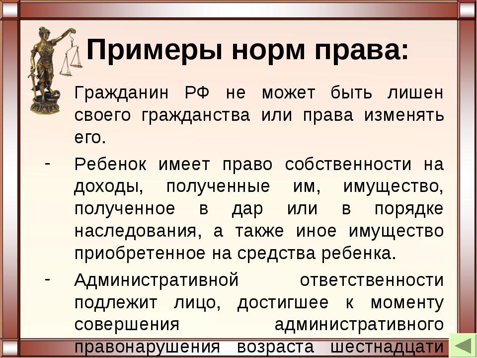 Примеры норм права: Гражданин РФ не может быть лишен своего гражданства или п...