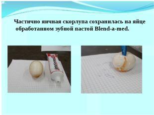 Частично яичная скорлупа сохранилась на яйце обработанном зубной пастой Blen