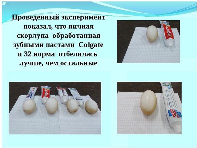 Проведенный эксперимент показал, что яичная скорлупа обработанная зубными пас...