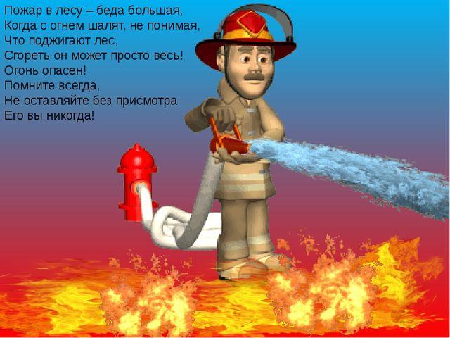Пожар в лесу – беда большая, Когда с огнем шалят, не понимая, Что поджигают л...