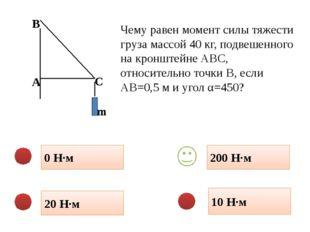 0 Н·м 10 Н·м 20 Н·м 200 Н·м Чему равен момент силы тяжести груза массой 40 кг