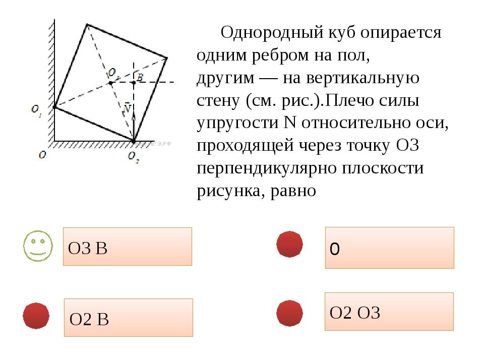 О2 О3 0 О2 В О3 В Однородный куб опирается одним ребром на пол, другим— на в...
