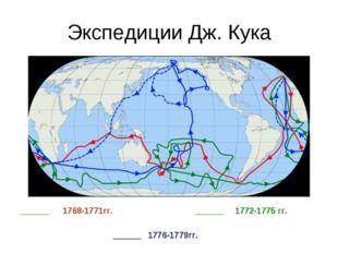 Экспедиции Дж. Кука ______ 1768-1771гг. ______ 1772-1775 гг. ______ 1776-1779