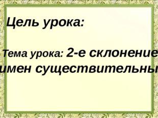 Цель урока: Тема урока: 2-е склонение имен существительных.