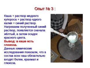 Опыт № 3 : Каша + раствор медного купороса + раствор едкого калия = синий рас