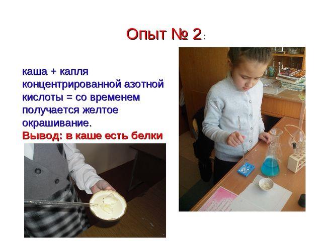Опыт № 2 : каша + капля концентрированной азотной кислоты = со временем получ...