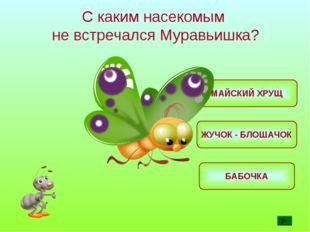 С каким насекомым не встречался Муравьишка? МАЙСКИЙ ХРУЩ БАБОЧКА ЖУЧОК - БЛОШ
