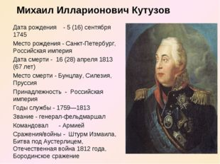 Дата рождения - 5 (16) сентября 1745 Место рождения - Санкт-Петербург, Россий