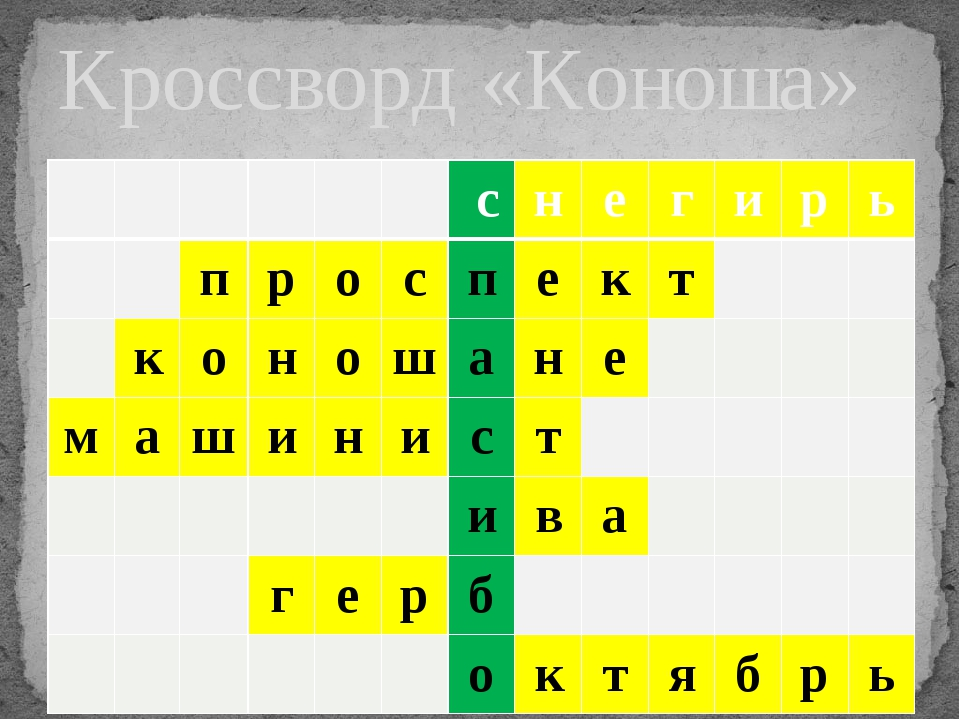 Кроссворд «Коноша» с н е г и р ь п р о с п е к т к о н о ш а н е м а ш и н и...