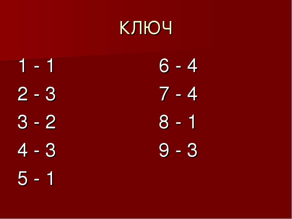 КЛЮЧ 1 - 1 6 - 4 2 - 3 7 - 4 3 - 2 8 - 1 4 - 3 9 - 3 5 - 1
