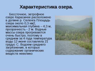 Характеристика озера. Бессточное, эвтрофное озеро Карасиное расположено в дол