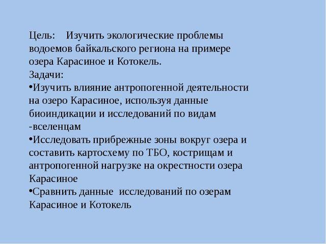 Цель: Изучить экологические проблемы водоемов байкальского региона на примере...