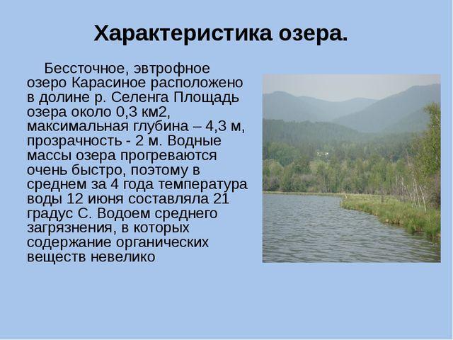 Характеристика озера. Бессточное, эвтрофное озеро Карасиное расположено в дол...