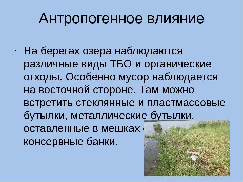 Антропогенное влияние На берегах озера наблюдаются различные виды ТБО и орган...