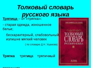 Толковый словарь русского языка Тряпица – от «тряпка»: - старая одежда, изнош
