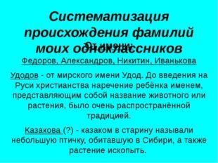 Систематизация происхождения фамилий моих одноклассников От имени: Федоров, А