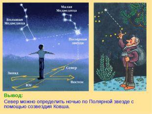 Вывод: Север можно определить ночью по Полярной звезде с помощью созвездия Ко