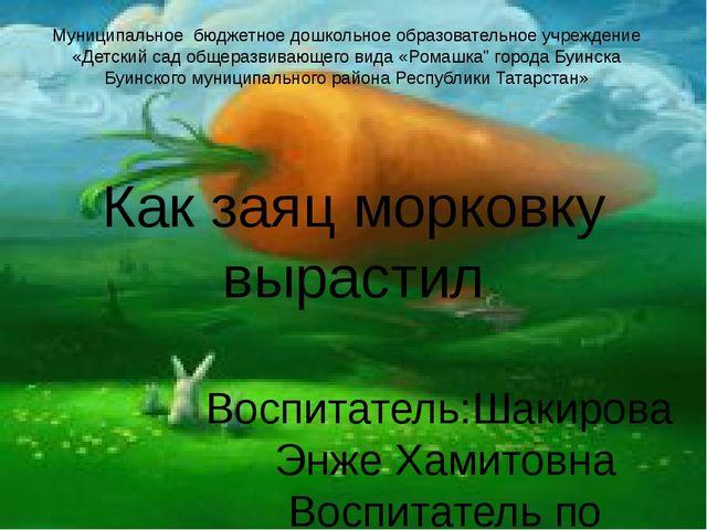 Как заяц морковку вырастил Воспитатель:Шакирова Энже Хамитовна Воспитатель по...