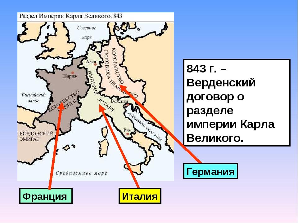843 г. – Верденский договор о разделе империи Карла Великого. Франция Германи...