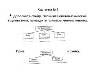 Карточка №2 • Дополните схему. Запишите систематические группы типа, приведи