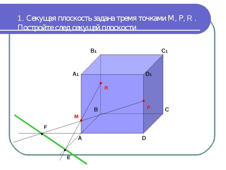 1. Секущая плоскость задана тремя точками М, Р, R . Постройте след секущей пл...