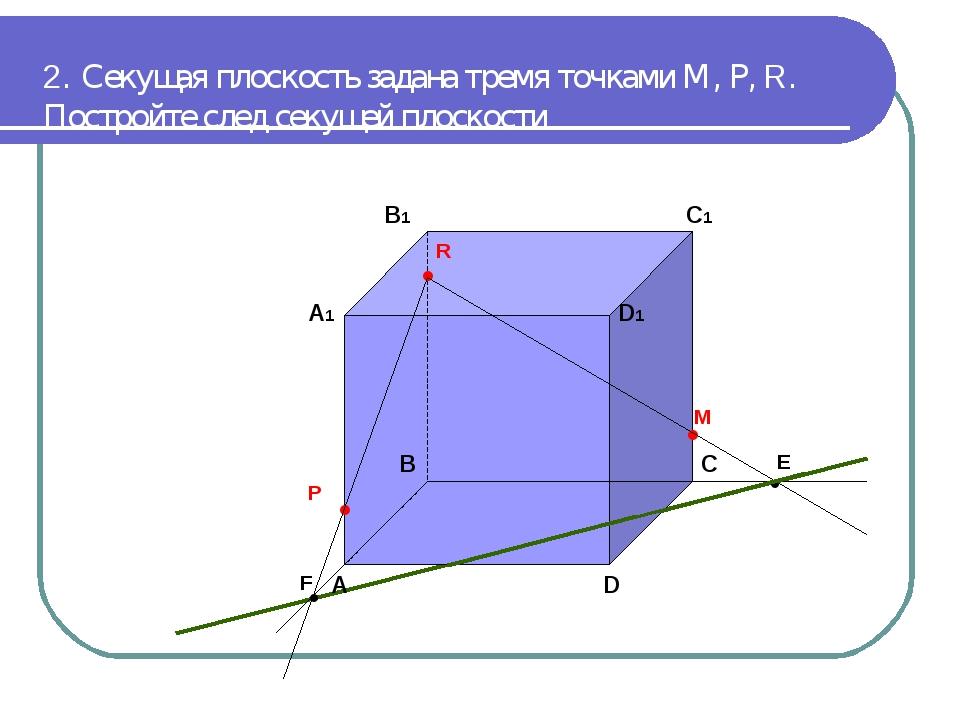 2. Секущая плоскость задана тремя точками М, Р, R. Постройте след секущей пло...