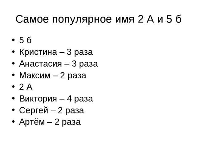 Самое популярное имя 2 А и 5 б 5 б Кристина – 3 раза Анастасия – 3 раза Макси...