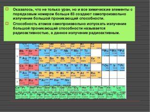 Оказалось, что не только уран, но и все химические элементы с порядковым номе