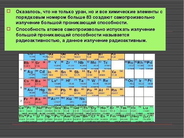 Оказалось, что не только уран, но и все химические элементы с порядковым номе...