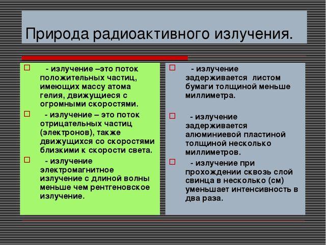 Природа радиоактивного излучения. α- излучение –это поток положительных части...