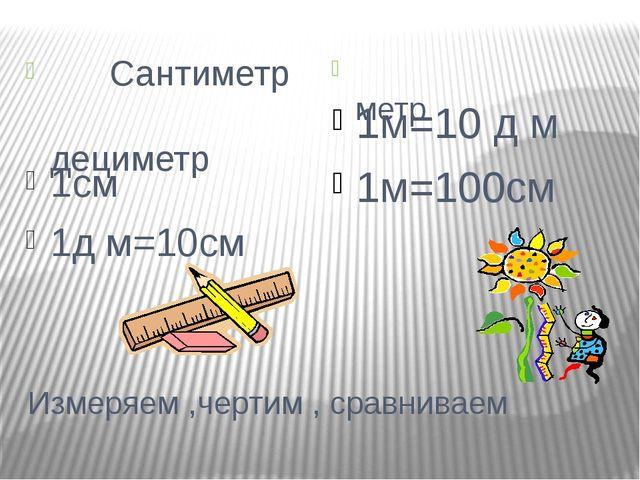 Измеряем ,чертим , сравниваем Сантиметр дециметр метр 1см 1д м=10см 1м=10 д м...