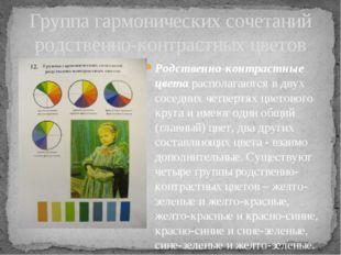Родственно-контрастные цвета располагаются в двух соседних четвертях цветовог