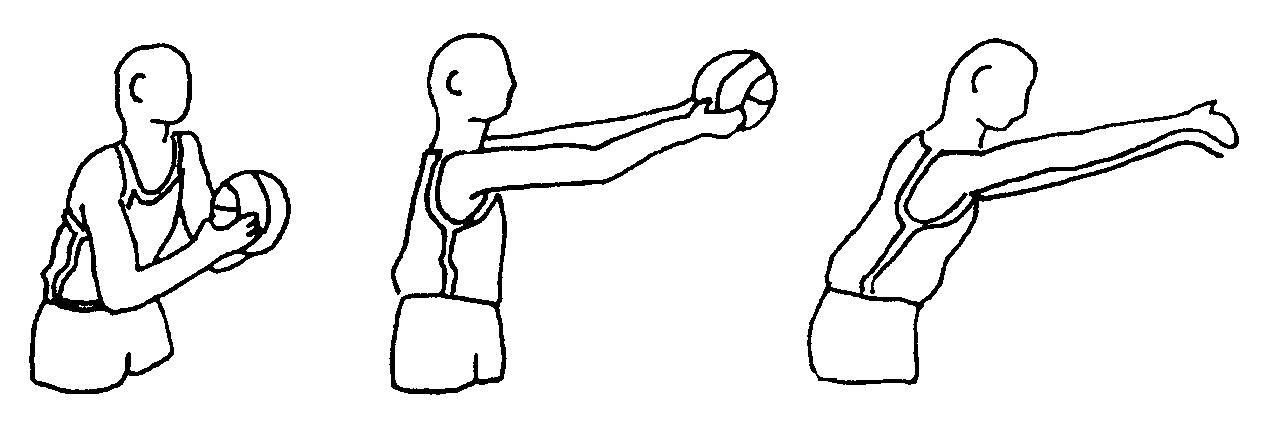 ловля мяча двумя руками от груди на месте