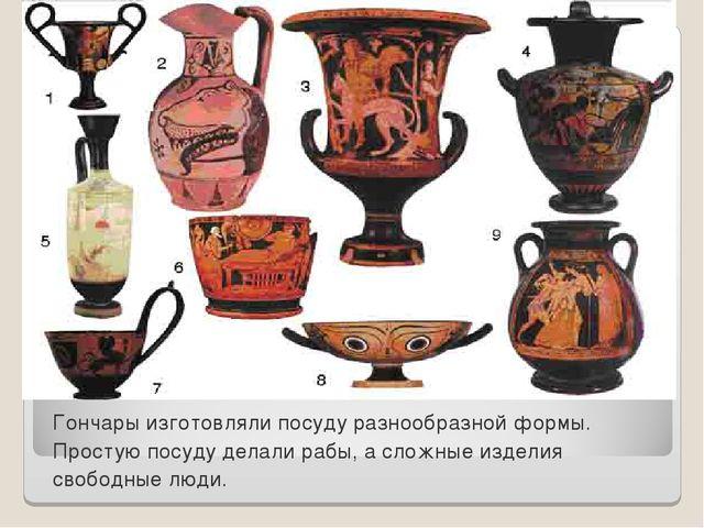 Гончары изготовляли посуду разнообразной формы. Простую посуду делали рабы, а...