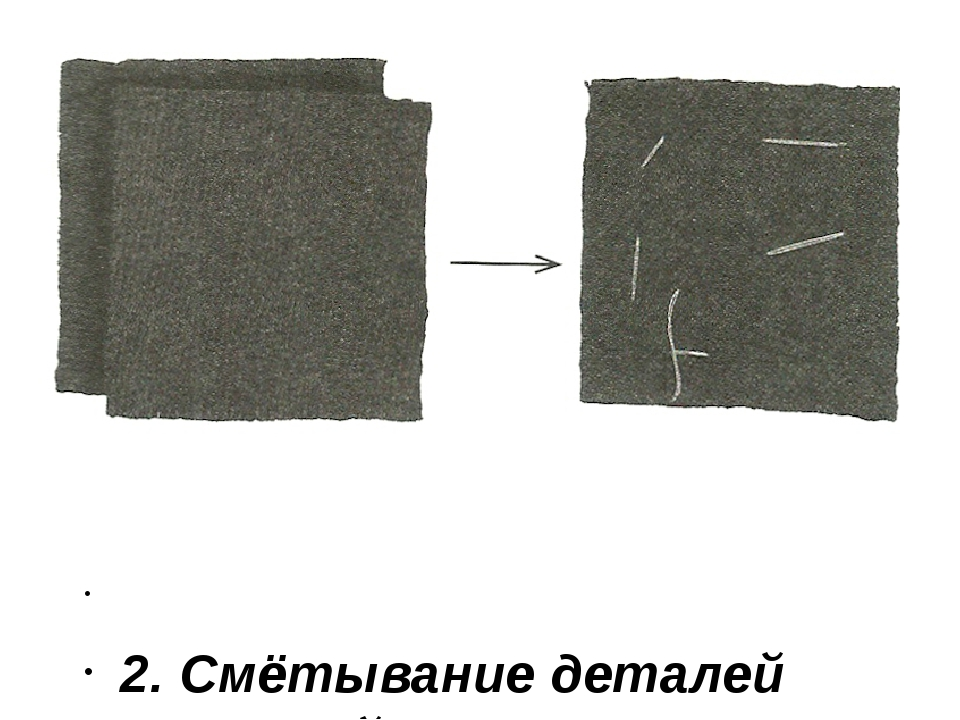 2. Смётывание деталей строчкой прямого стежка.