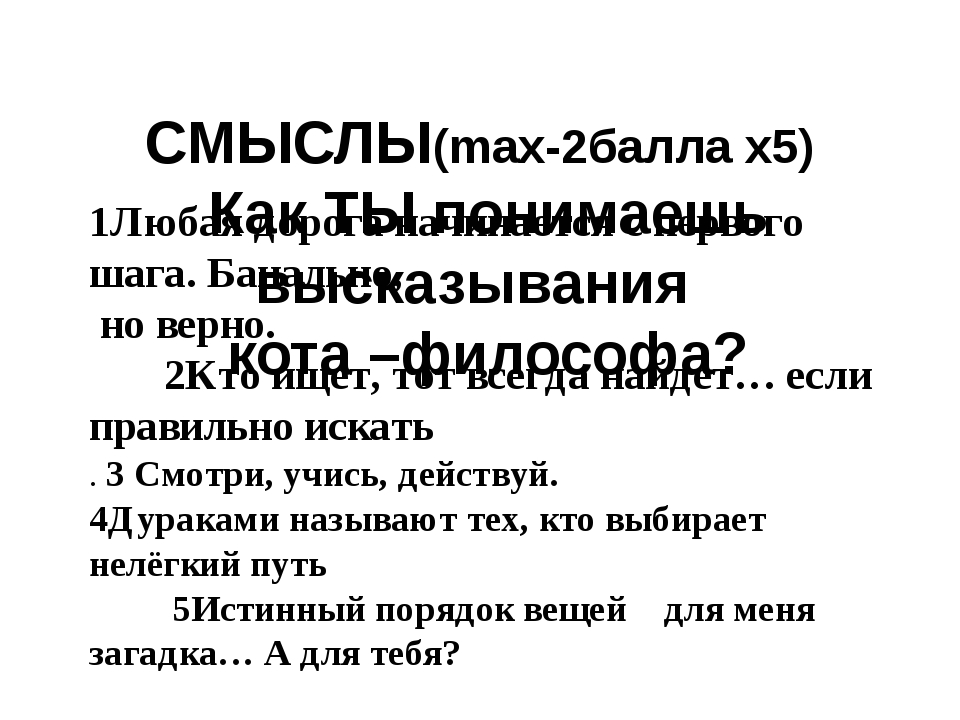СМЫСЛЫ(max-2балла х5) Как ТЫ понимаешь высказывания кота –философа? 1Любая д...