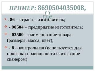 ПРИМЕР: 8690504035008, где - 86 – страна – изготовитель; - 90504 – предприяти