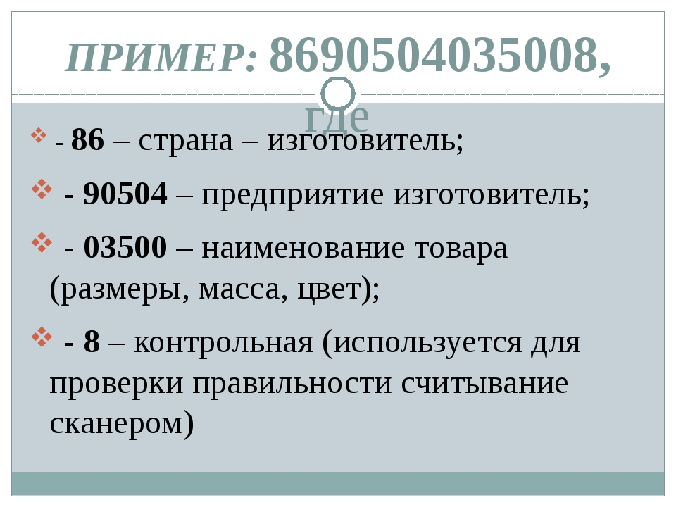 ПРИМЕР: 8690504035008, где - 86 – страна – изготовитель; - 90504 – предприяти...