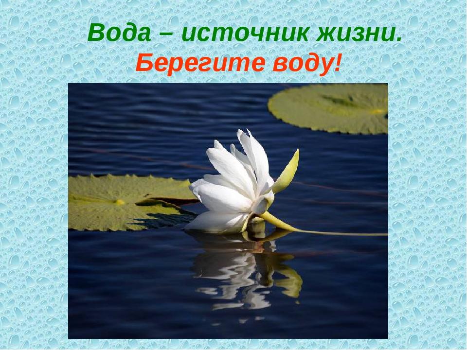 Вода – источник жизни. Берегите воду!