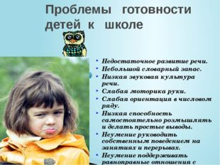 Проблемы готовности детей к школе Недостаточное развитие речи. Небольшой слов