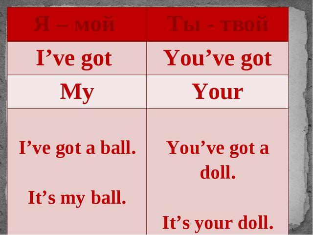 Я – мой Ты - твой I've got You've got My Your I've got a ball. It'smyball. Yo...