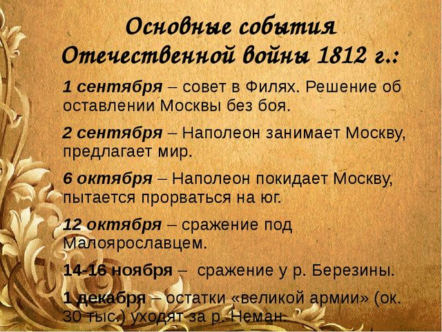 Основные события Отечественной войны 1812 г.: 1 сентября – совет в Филях. Реш...