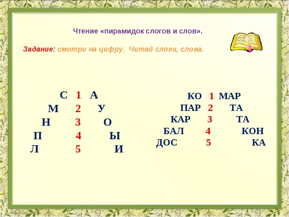 Чтение «пирамидок слогов и слов». Задание: смотри на цифру. Читай слоги, сло...