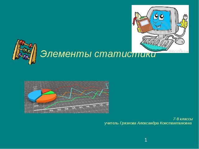 Элементы статистики 7-8 классы учитель Грязнова Александра Константиновна