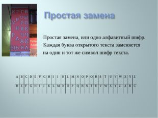 Простая замена, или одно алфавитный шифр. Каждая буква открытого текста замен