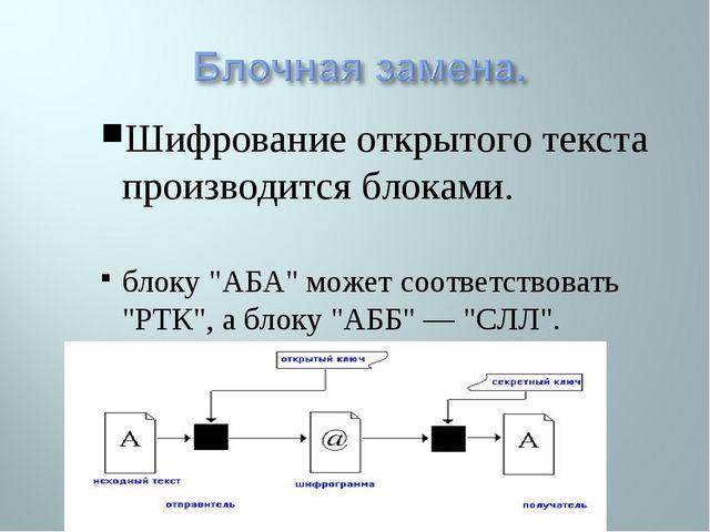 """Шифрование открытого текста производится блоками. блоку """"АБА"""" может соответст..."""