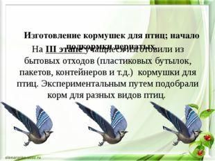 Изготовление кормушек для птиц; начало подкормки пернатых. На IІІ этапе учащ