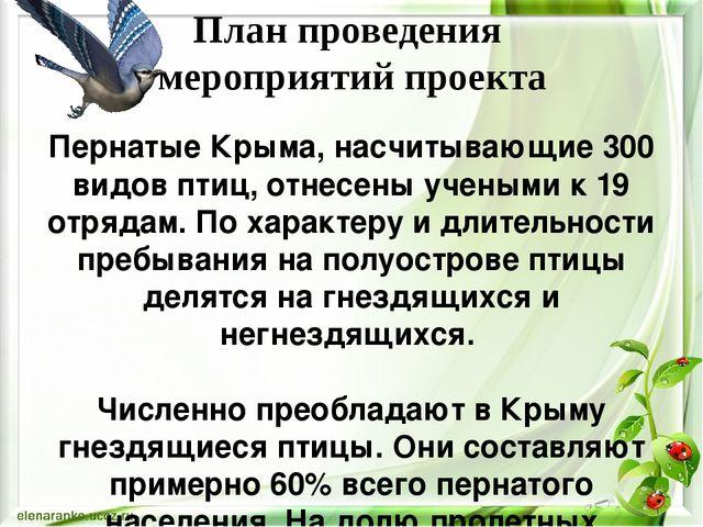 План проведения мероприятий проекта Пернатые Крыма, насчитывающие 300 видов п...