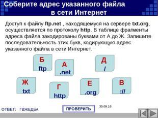 В :// Г http Е .org Ж txt Б ftp Д / A .net Соберите адрес указанного файла в