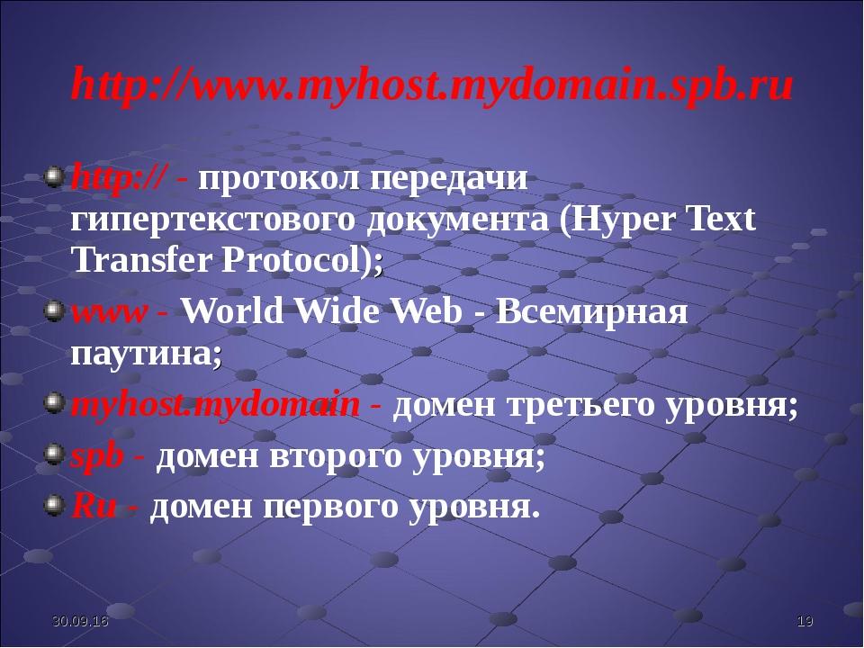 http://www.myhost.mydomain.spb.ru http:// - протокол передачи гипертекстового...